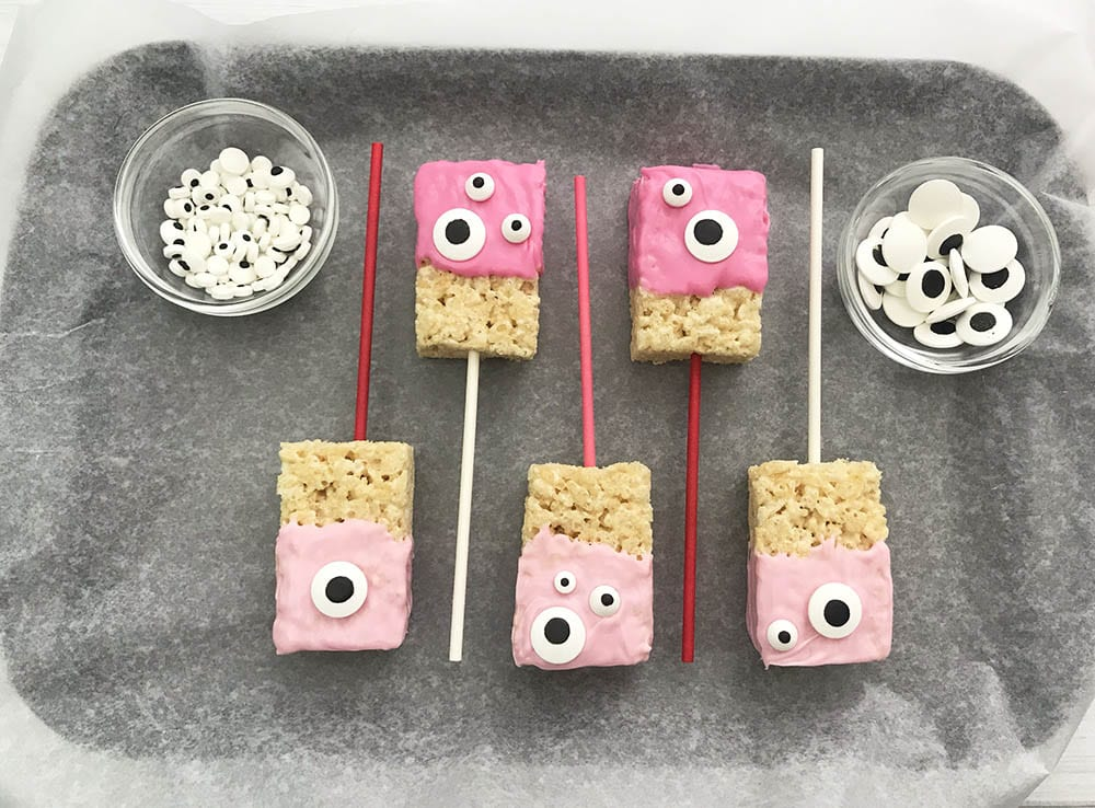 Assembling Cute Monster Valentine Rice Krispie Treats Recipe