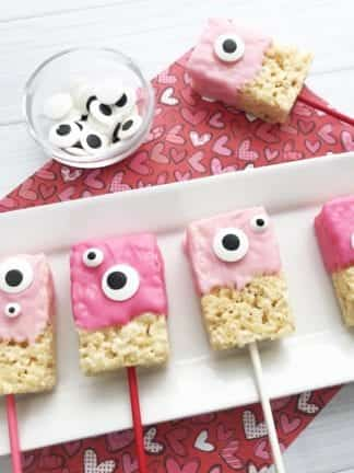 Halfway Homemade Chocolate-Dipped Monster Valentine Rice Krispie Treats thumbnail