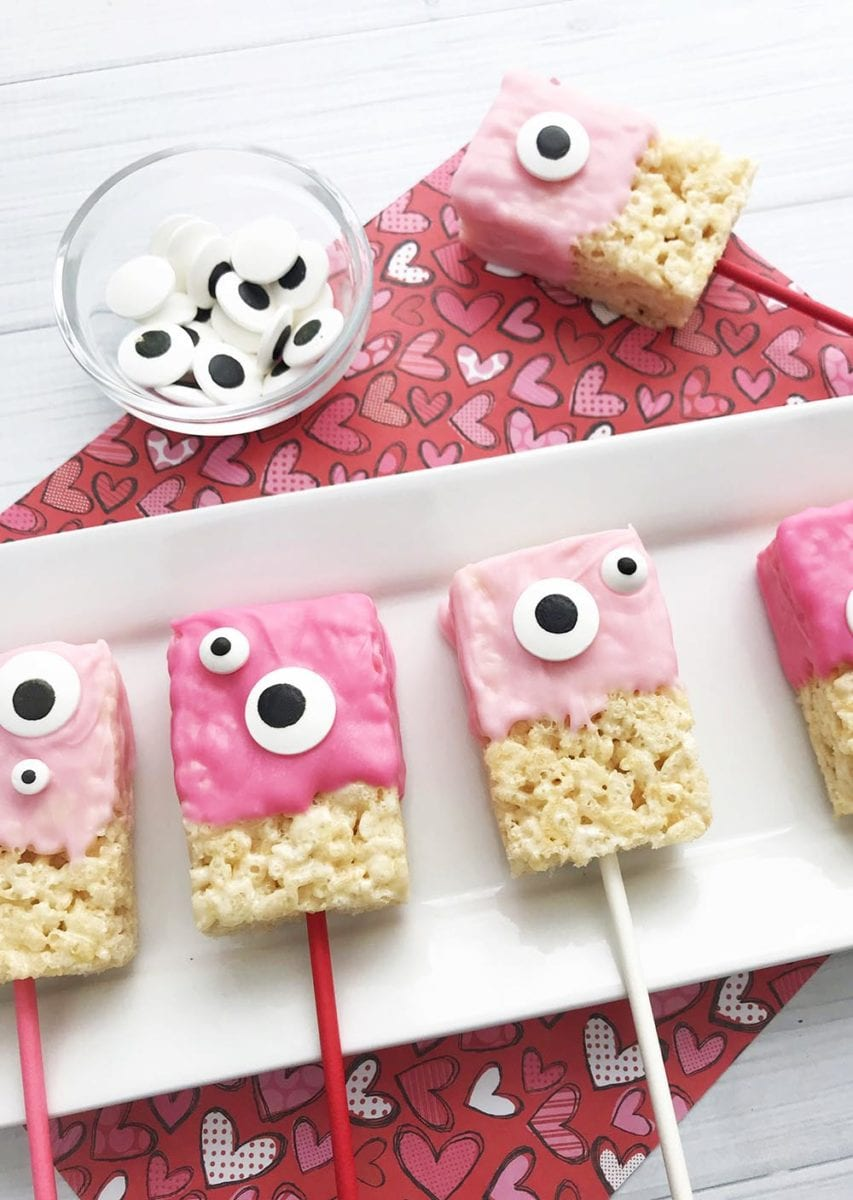 Cute Monster Valentine Rice Krispie Treats Recipe