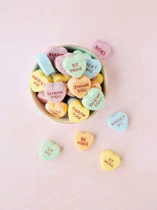 DIY Conversation Heart Valentine's Day Bath Bombs thumbnail