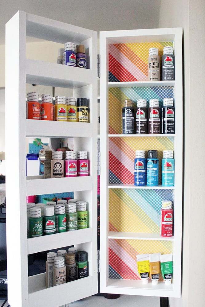 DIY Swing Out Wall Shelves from Scrap Wood