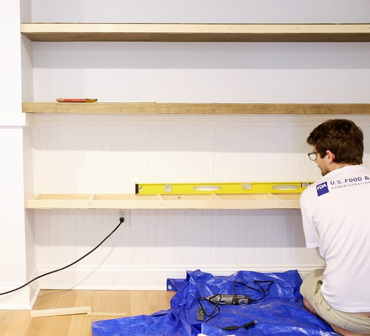 How to Build Floating Shelves for Uneven Walls - Shrimp Salad Circus