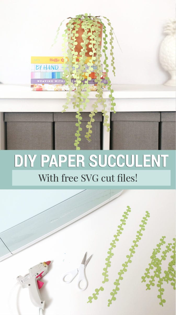 String of Pearls DIY Paper Succulent on a white shelf