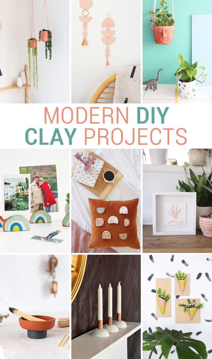 Collage of Modern DIY Clay Projects