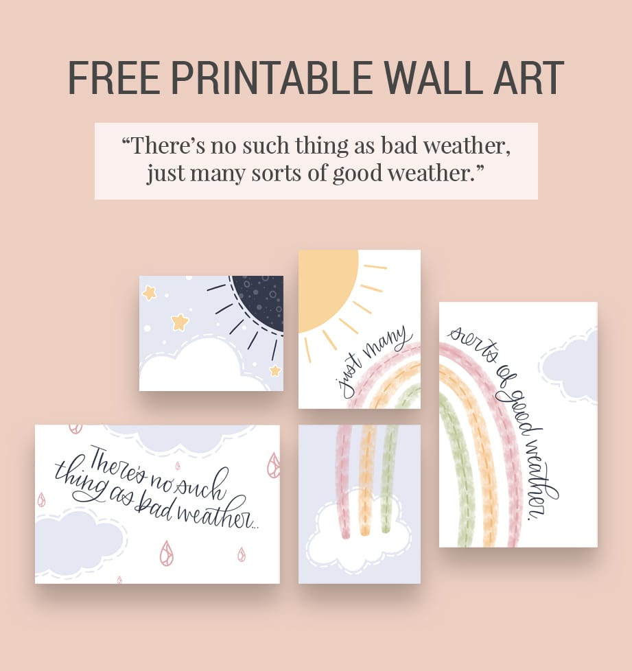 Pink background with preview of rainbow and clouds free printable wall art