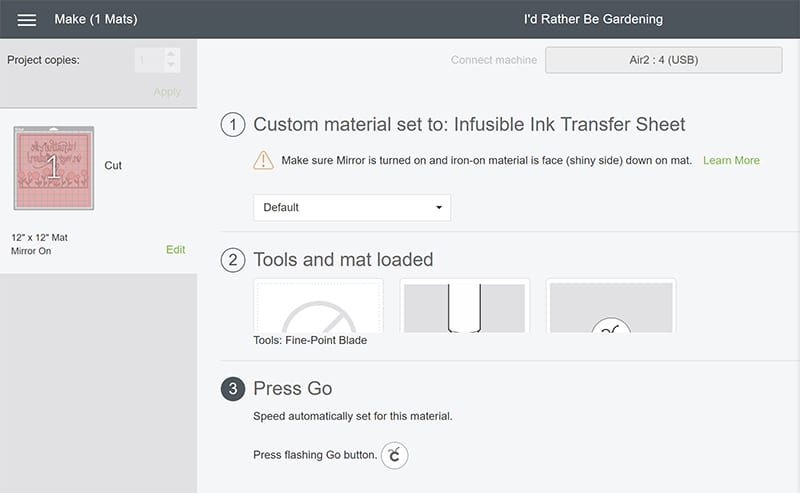 Custom Material Setting on Cricut Explore Air 2 for Cricut Infusible Ink Transfer Sheets