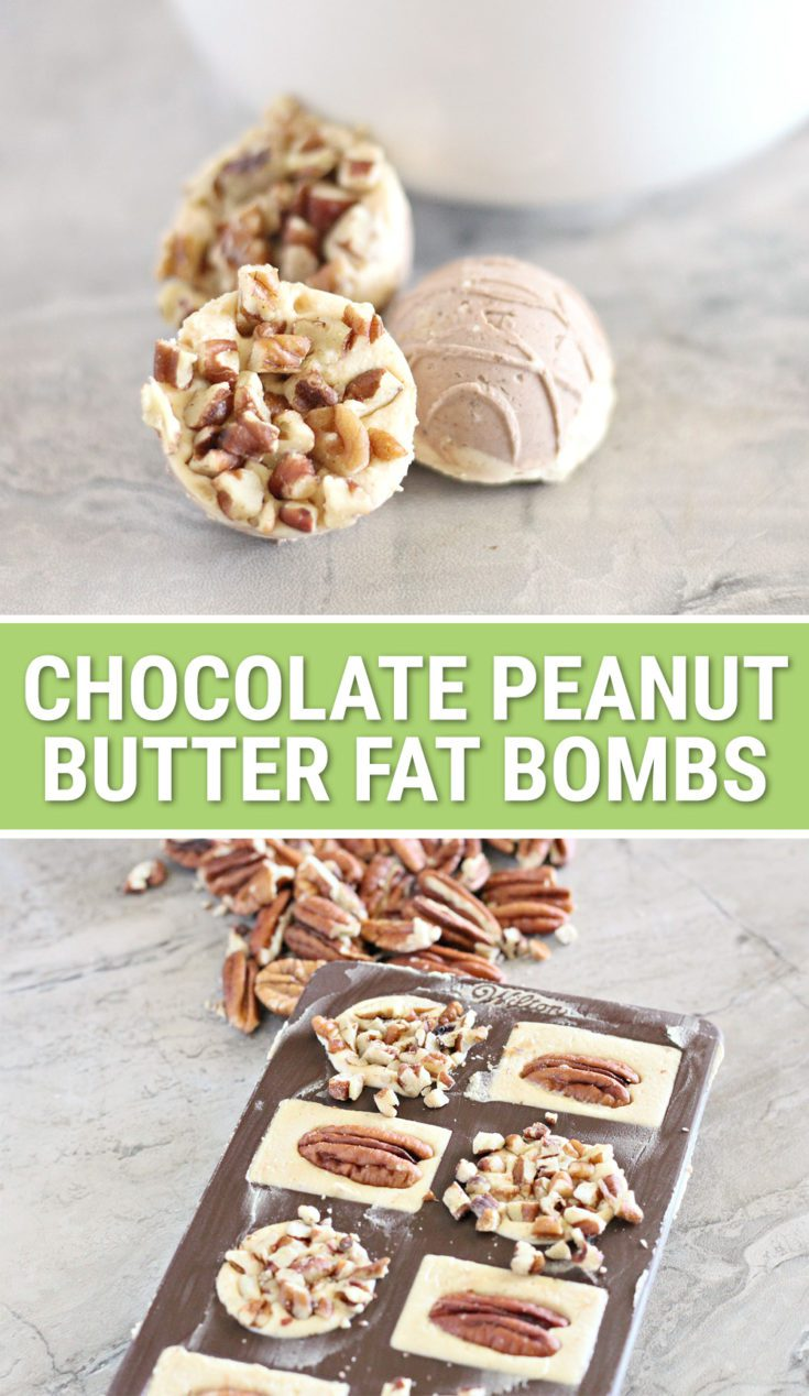 This easy, low carb chocolate peanut butter fat bomb recipe is the perfect energy boosting snack for anybody on a Ketogenic diet. Chopped pecan makes them taste just like Keto candy with minimal carbs!
