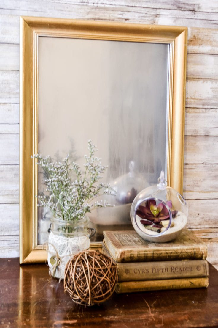 DIY Frosted Mirror from Thrift Store Artwork