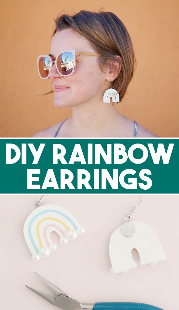 Learn how to make DIY polymer clay earrings. These cute little FIMO rainbow statement pieces are as cute as can be and surprisingly easy!