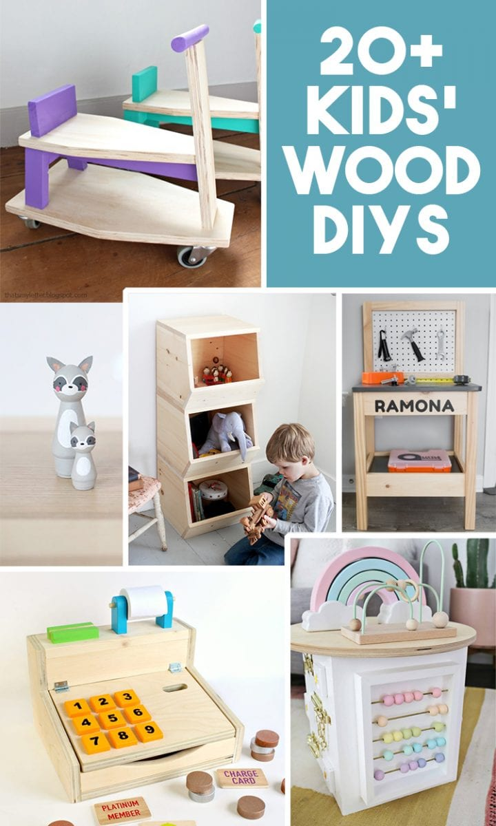 Collage of DIY wood projects for kids