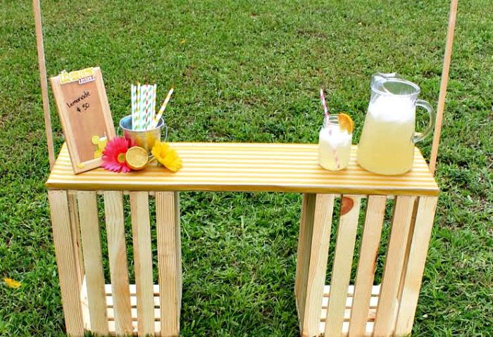 DIY Lemonade Stand made with Wooden Crates for Kids