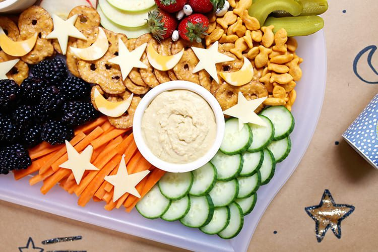 Kids Party Tray with Snacks and Cheese