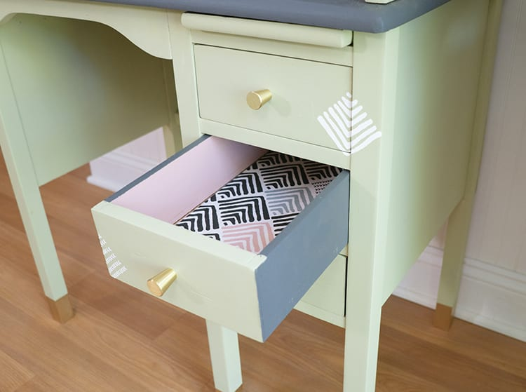Vintage Roll Top Desk Makeover With Fabric-Lined Drawers