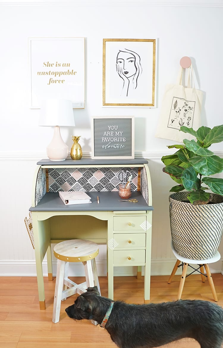 Vintage Roll Top Desk Makeover With the BEHR 2020 Color of the Year and a Dog Photo Bomb