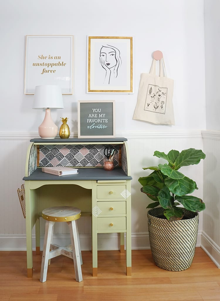 Vintage Roll Top Desk Makeover With the BEHR 2020 Color of the Year