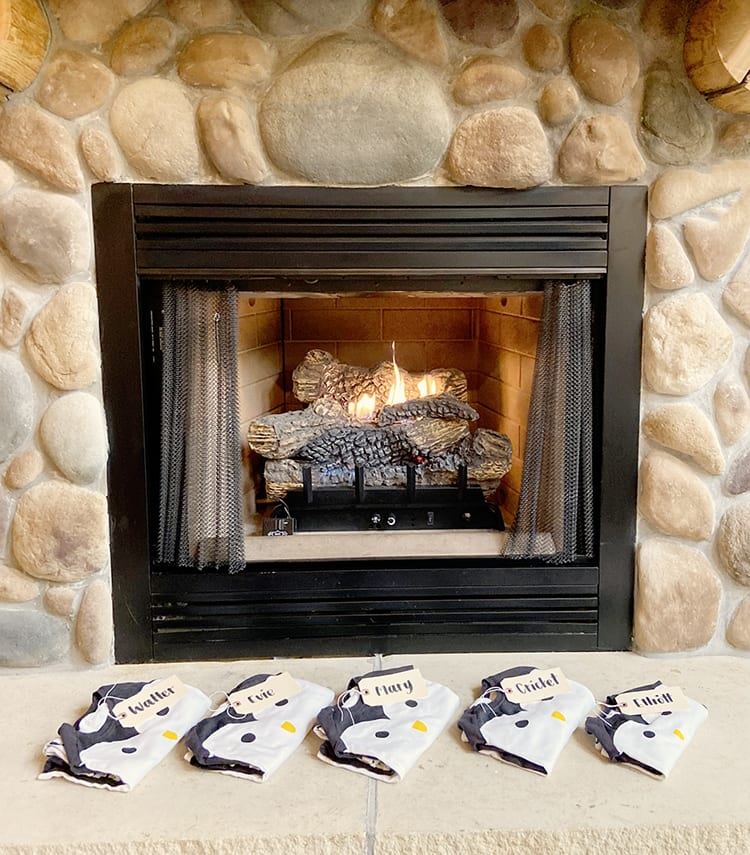 Fireplace with Matching Christmas Pajamas for the Kids