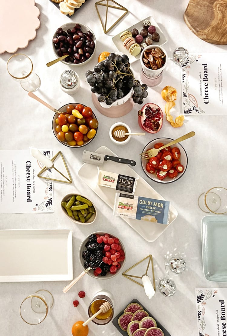 Quick Easy Party Grazing Table with Cheese and Appetizers